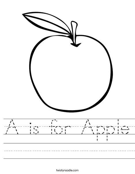 Apple Worksheets Kindergarten A is for Apple Worksheet From Twistynoodle