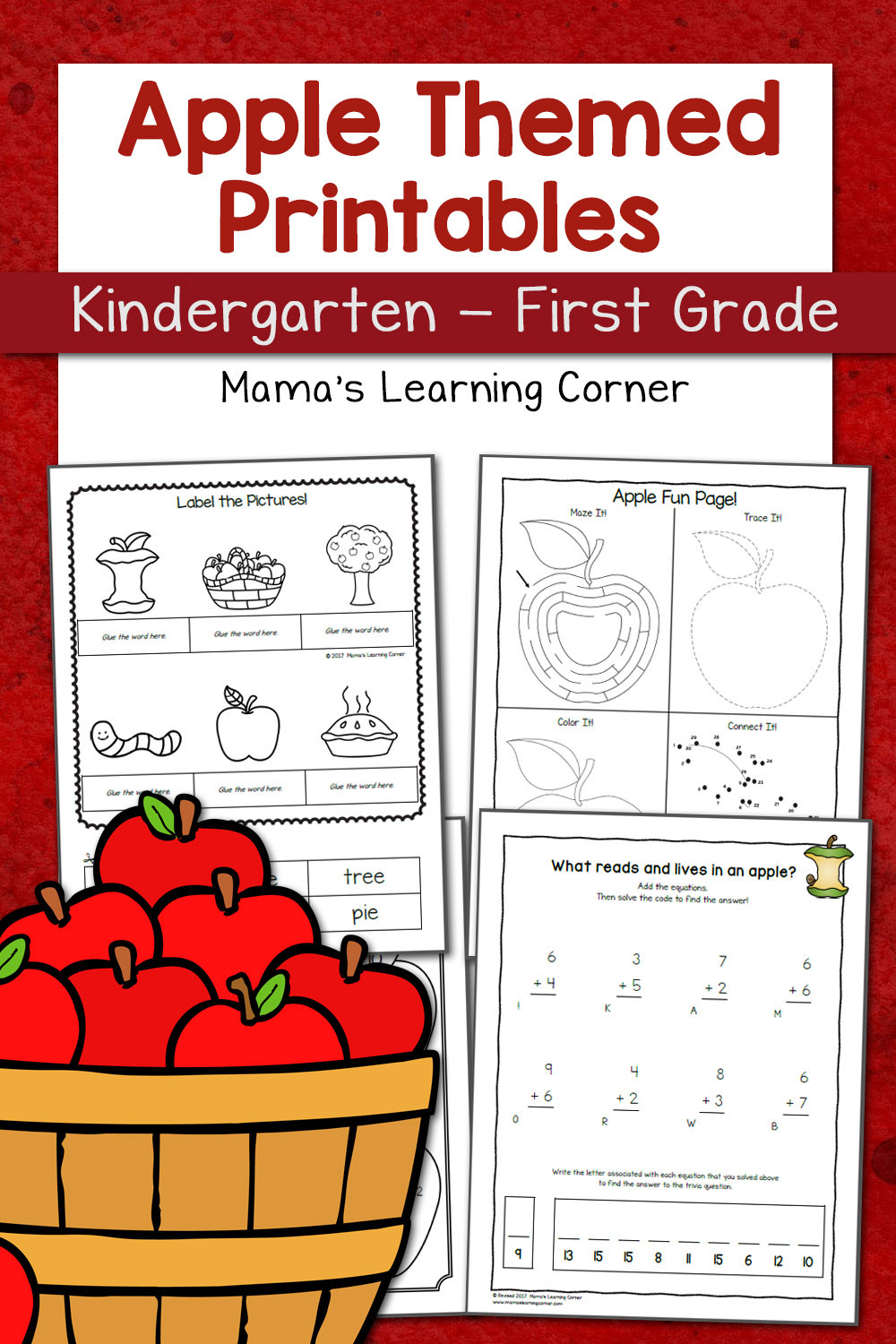 Apple Worksheets Kindergarten Apple Worksheets for Kindergarten First Grade Mamas