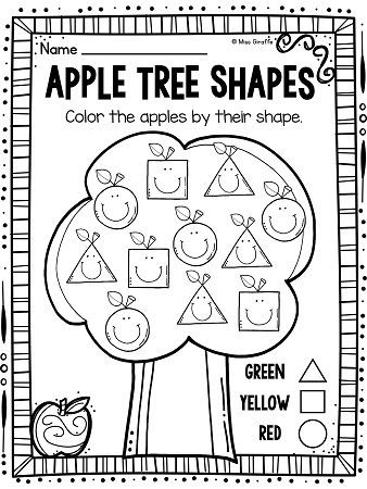 Apple Worksheets Kindergarten Apples theme 2d Shapes Activities for Your Apples Unit
