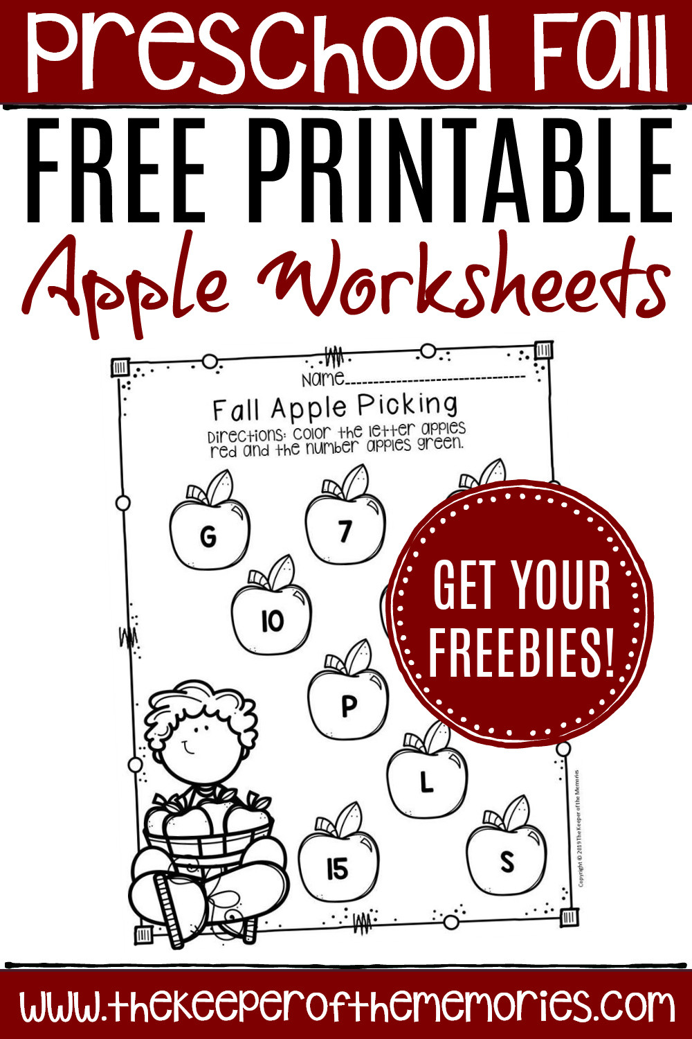 Apple Worksheets Kindergarten Free Printable Apple Worksheets for Preschoolers