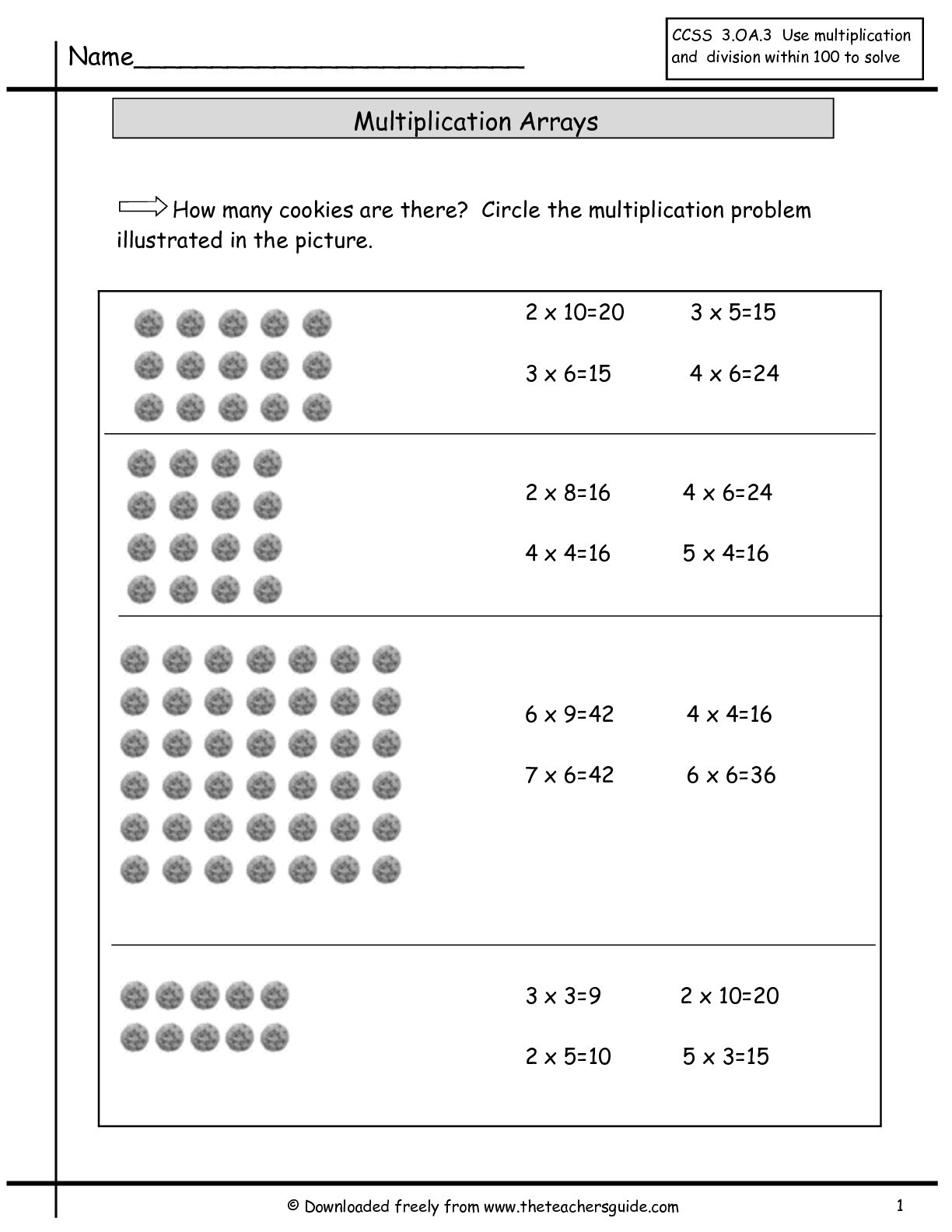 Arrays Worksheets Grade 2 Array Multiplication Worksheets & Multiplication Worksheets