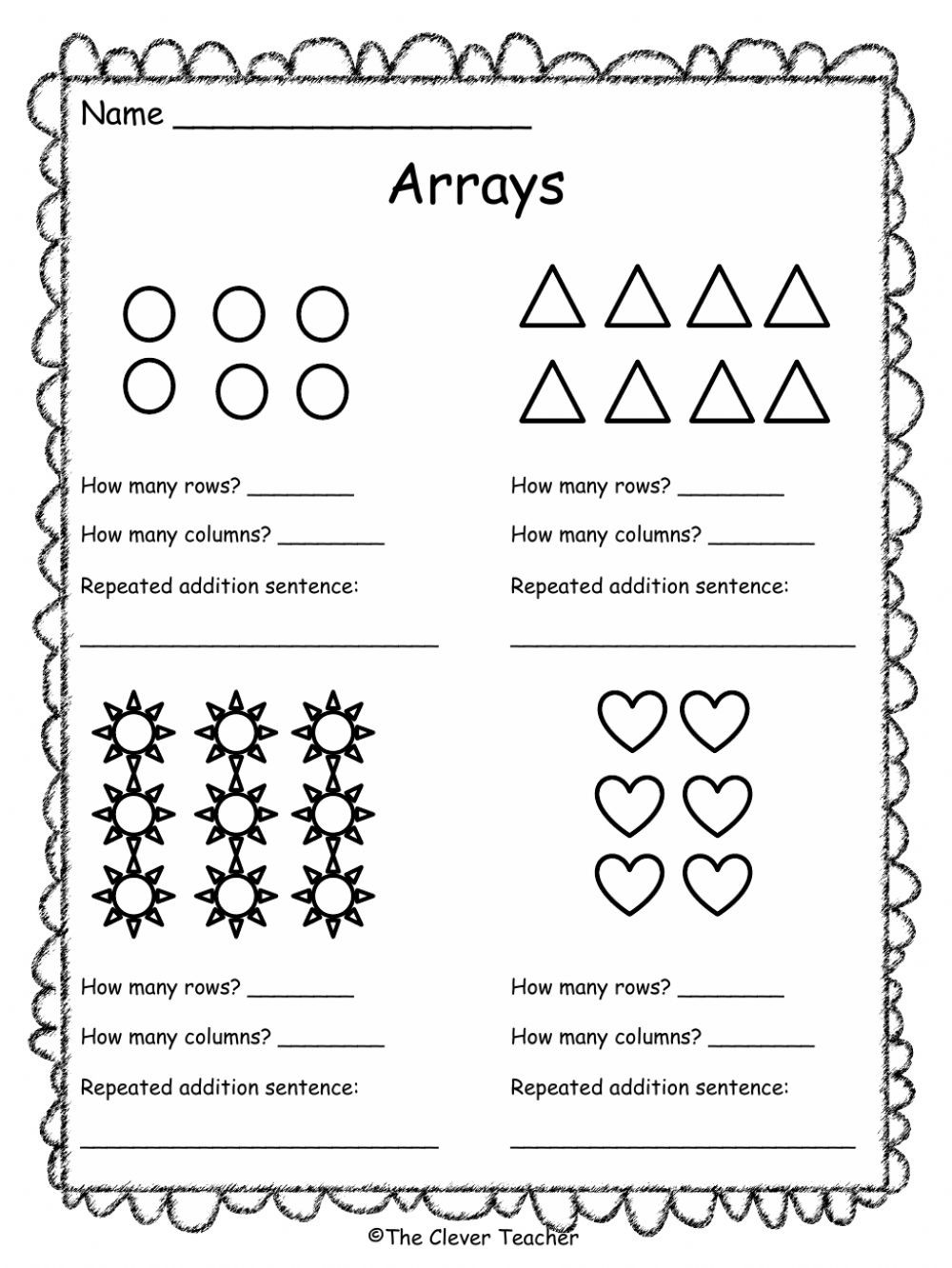 Arrays Worksheets Grade 2 Arrays Interactive Worksheet