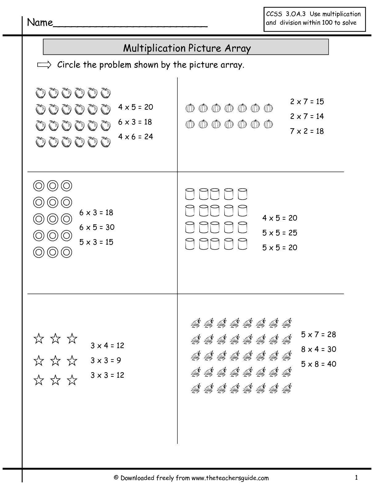Arrays Worksheets Grade 2 Multiplication Array Worksheets