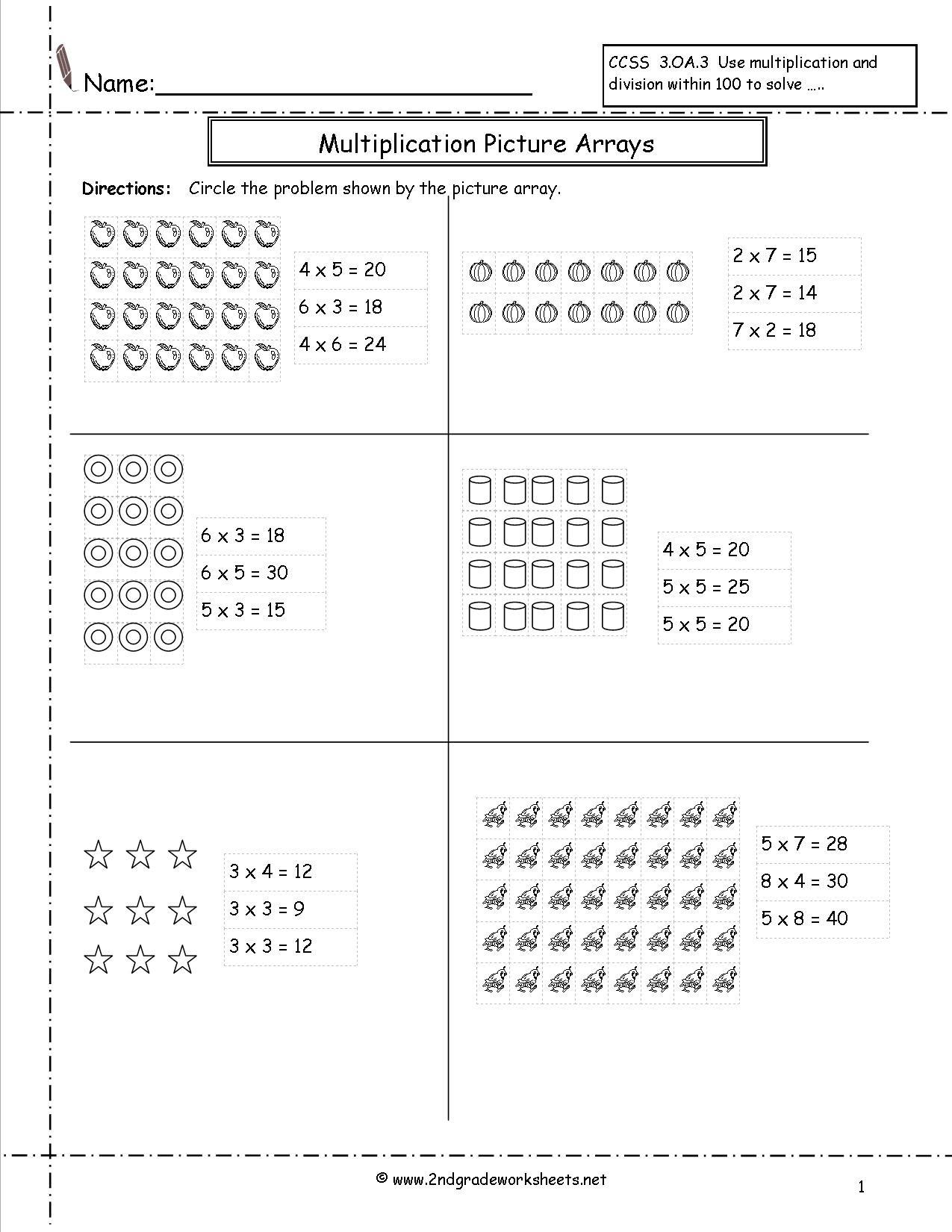 Arrays Worksheets Grade 2 Multiplication Arrays Worksheets