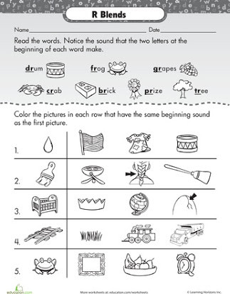 Blends Worksheets for 1st Grade Free Printable R Blends Worksheets