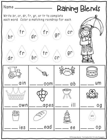 Blends Worksheets for 1st Grade No Prep First Grade January Winter Print and Go Morning