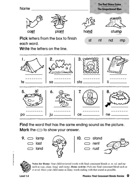 Blends Worksheets for 1st Grade Phonics Final Consonants Blends Review Worksheet for 1st