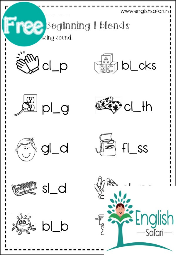 Blends Worksheets Kindergarten Free Blend Worksheets for Kindergarten Free Englishsafari In