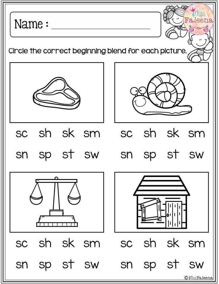 Blends Worksheets Kindergarten Free Free Beginning Blends Activities