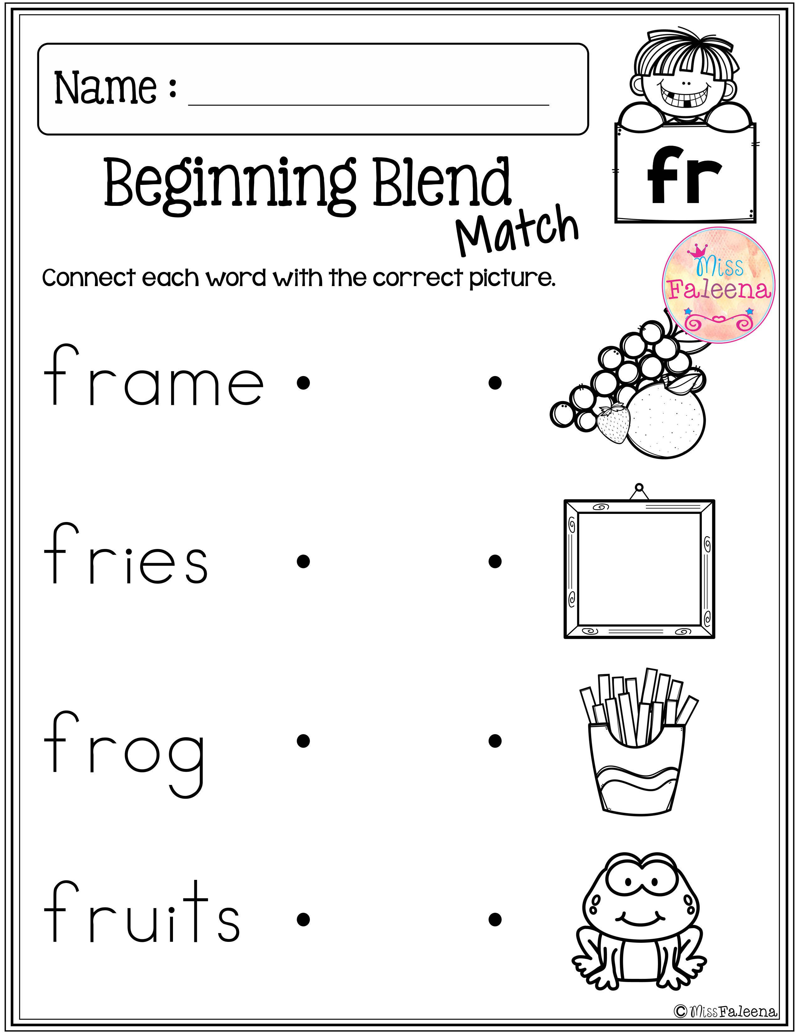 Blends Worksheets Kindergarten Free Free Beginning Blends Activities