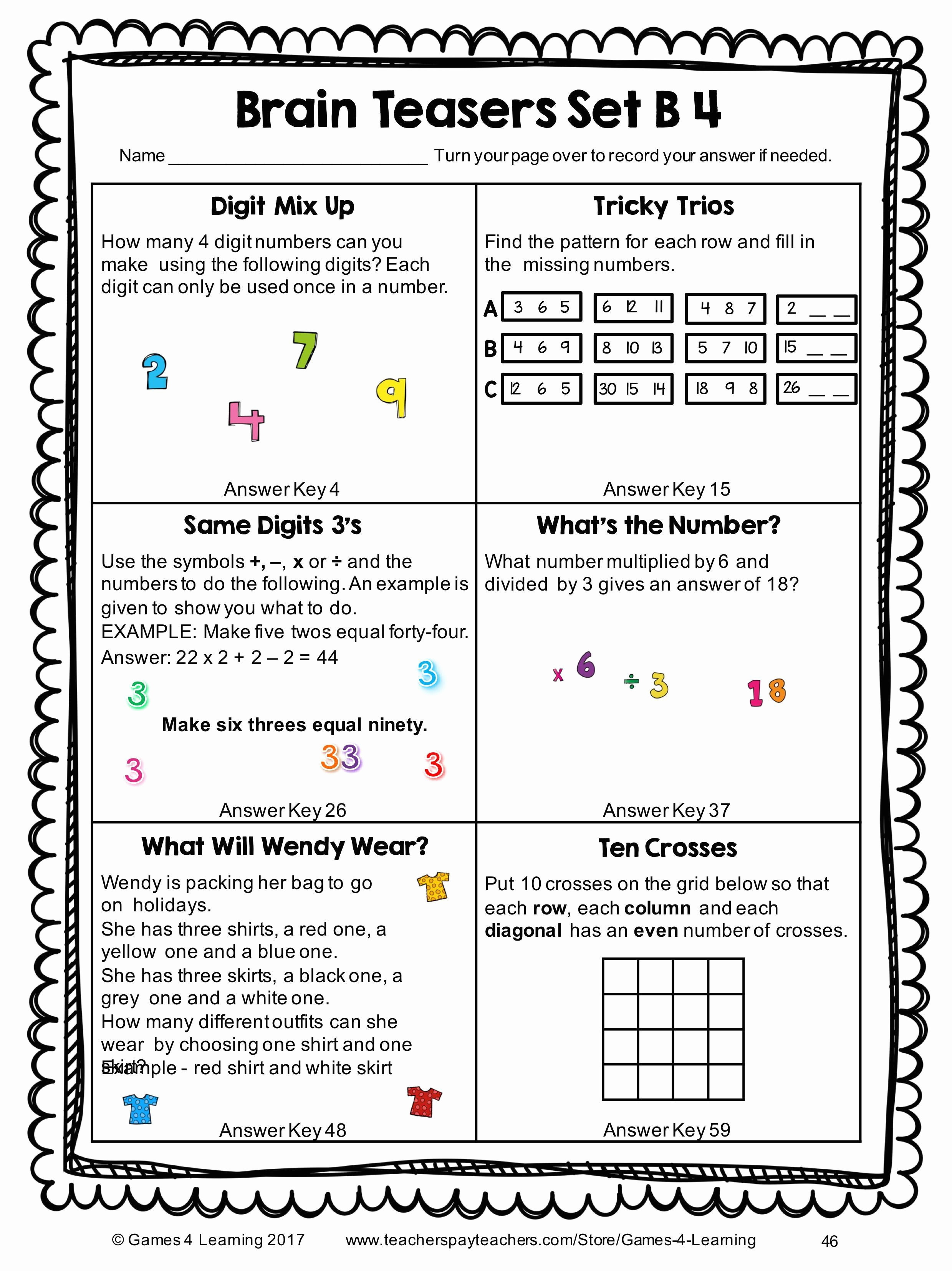 Brain Teaser Printable Worksheets 6th Grade Brain Teasers Worksheets