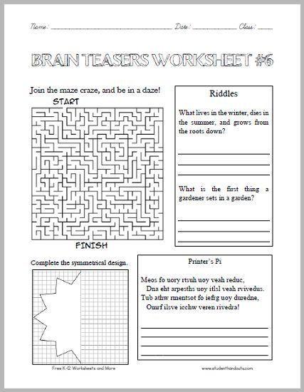 Brain Teaser Printable Worksheets Brain Teasers Worksheet 6 Here is A Fun Handout Full Of