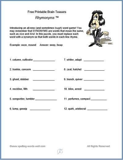 Brain Teaser Printable Worksheets Free Printable Brain Teasers