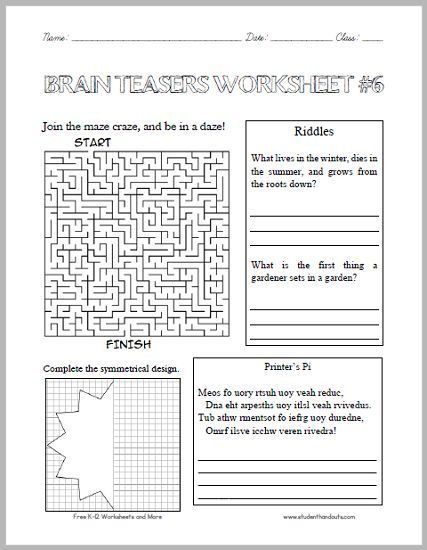 Brain Teasers Printable Worksheets Brain Teasers Worksheet 6 Here is A Fun Handout Full Of