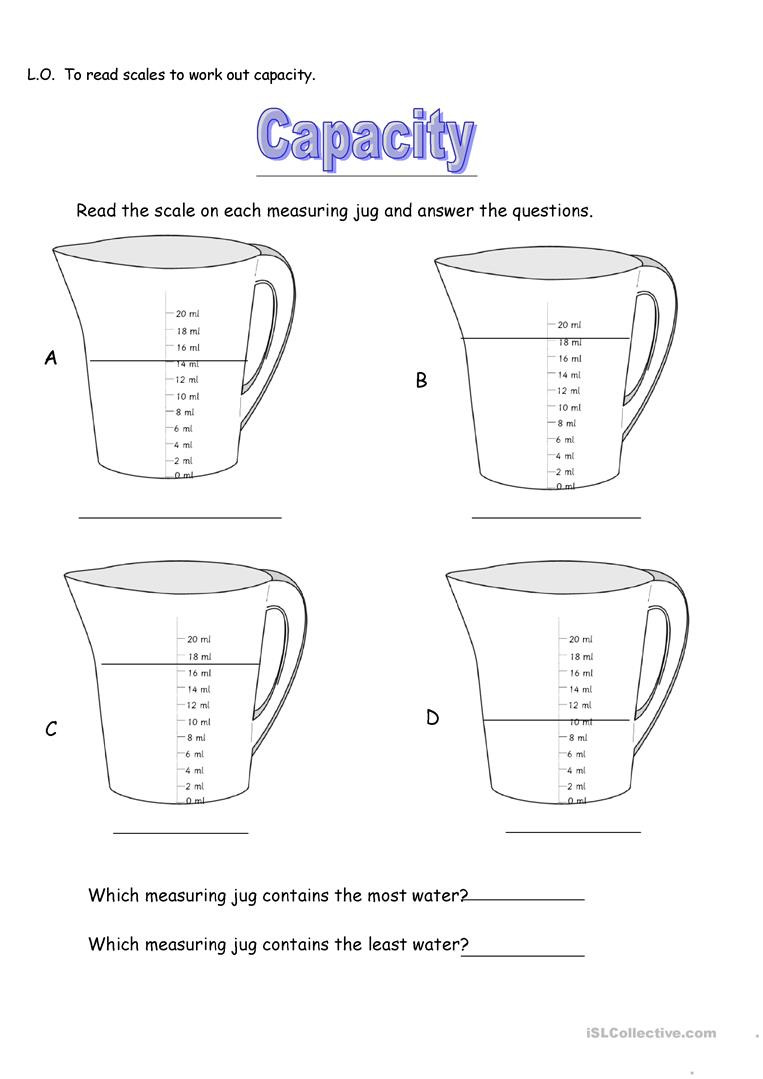 Capacity Worksheets Kindergarten Capacity Measuring Jugs English Esl Worksheets for