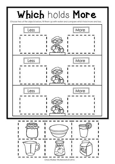Capacity Worksheets Kindergarten Capacity Non Standard Measurement for Kindergarten Grade