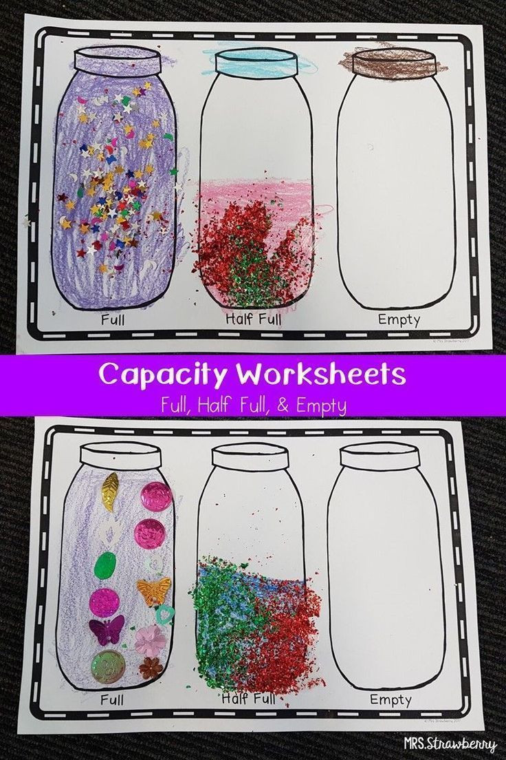 Capacity Worksheets Kindergarten Capacity Worksheet Full Half Full Empty