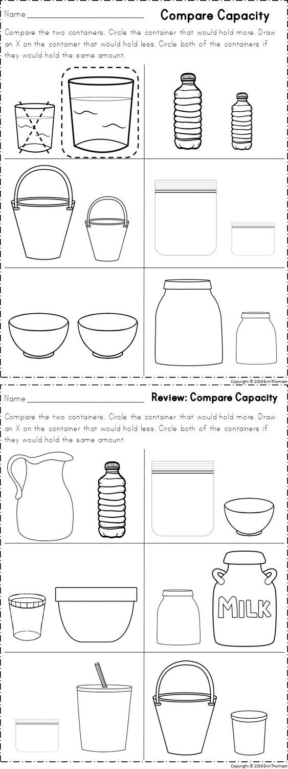 Capacity Worksheets Kindergarten Capacity Worksheets for Kindergarten & Measuring Length