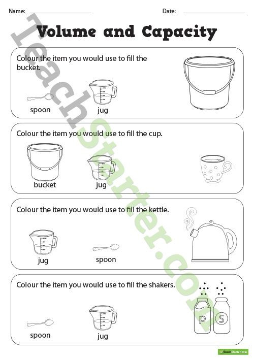 Capacity Worksheets Kindergarten Volume and Capacity Colouring Worksheets Teaching Resource