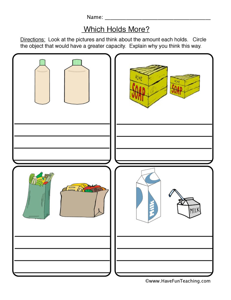 Capacity Worksheets Kindergarten which Holds More Capacity Worksheet