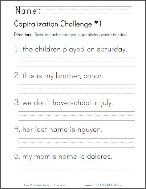 Capitalization Worksheets Grade 1 Grade 1 Grammar Worksheet Printable In 2020