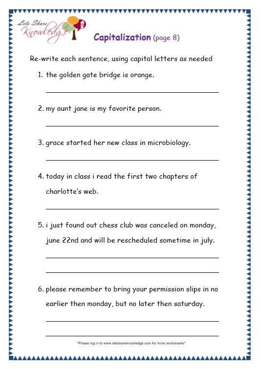 Capitalization Worksheets Grade 1 Grade 3 Grammar topic 29 Capitalization Worksheets