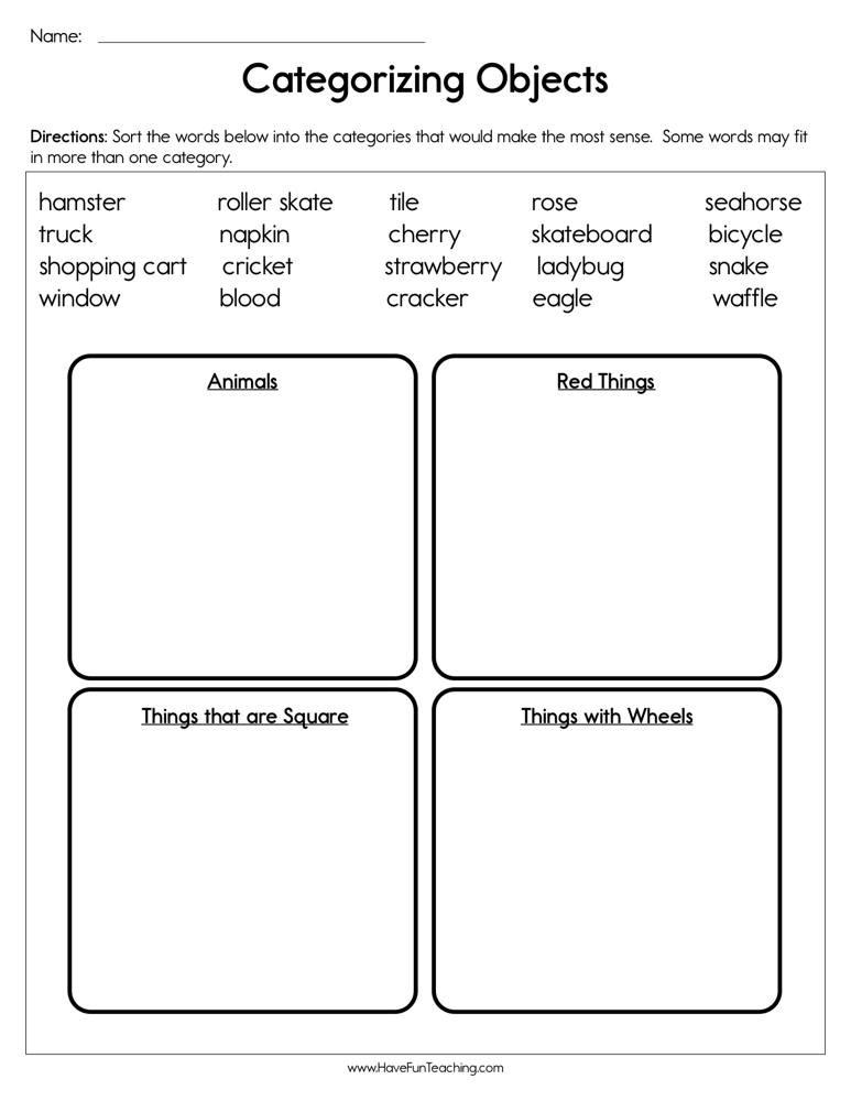 Categorizing Worksheets for Kindergarten Categorizing Objects Worksheet