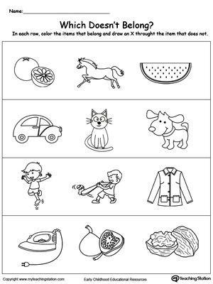 Categorizing Worksheets for Kindergarten Identify the Item that Does Not Belong