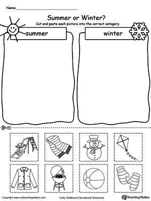 Categorizing Worksheets for Kindergarten sorting Summer and Winter Seasonal Items