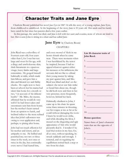 Character Traits Worksheet 2nd Grade Character Traits Worksheets