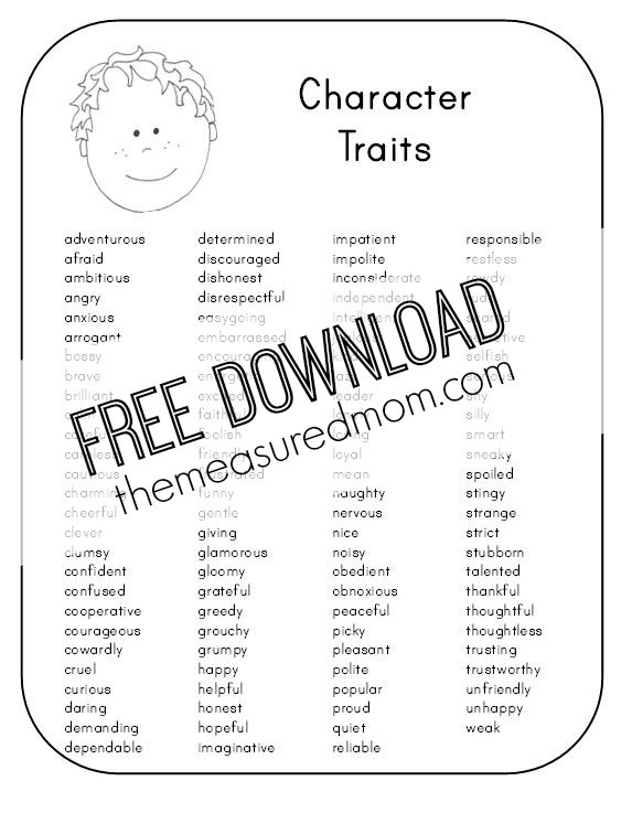 Character Traits Worksheet 2nd Grade Free Character Analysis Worksheet for Kids the Measured Mom
