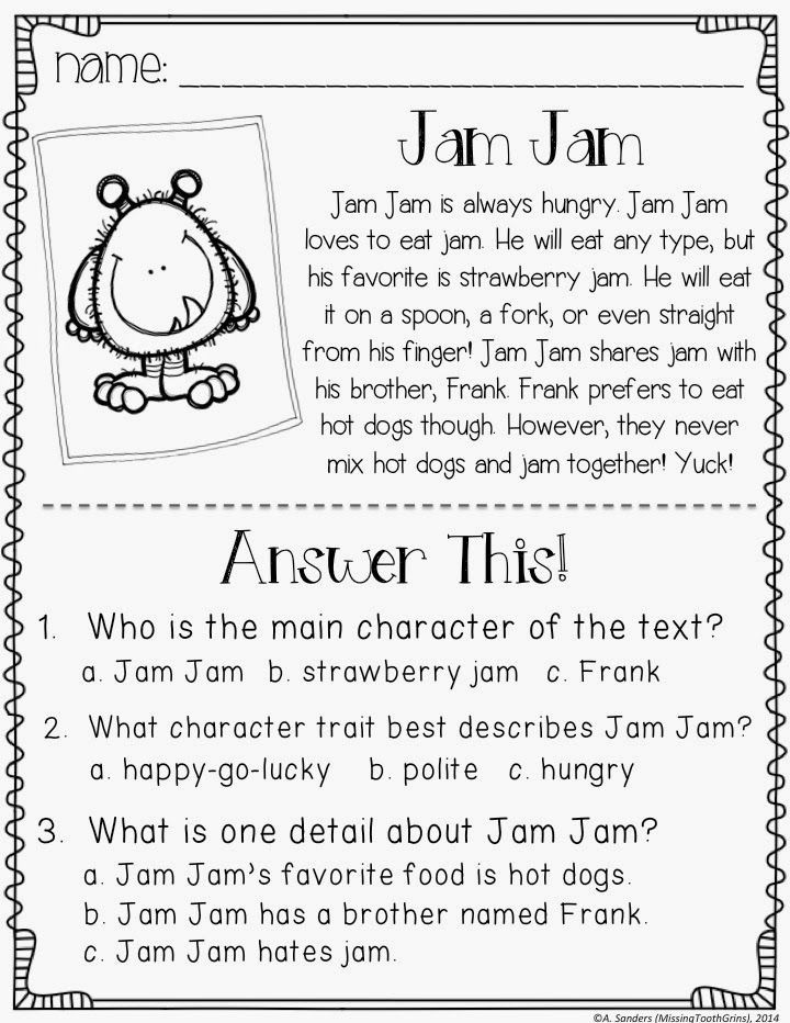 Character Traits Worksheet 2nd Grade Main Character Passages