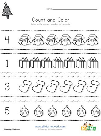 Christmas Counting Worksheets Kindergarten Christmas Count and Color Worksheet