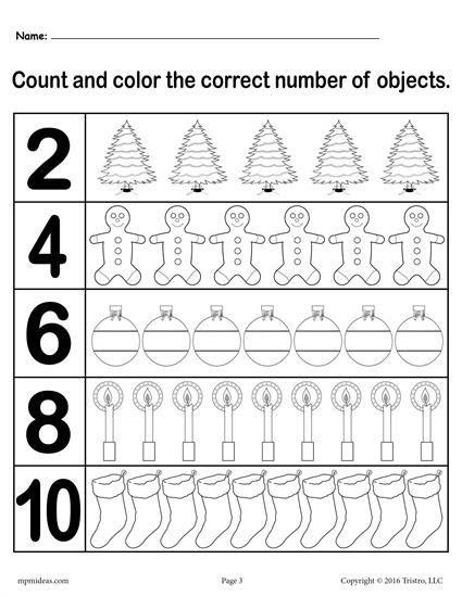 "Christmas Counting Worksheets Kindergarten Christmas themed ""count and Color"" Worksheets 3 Printable"
