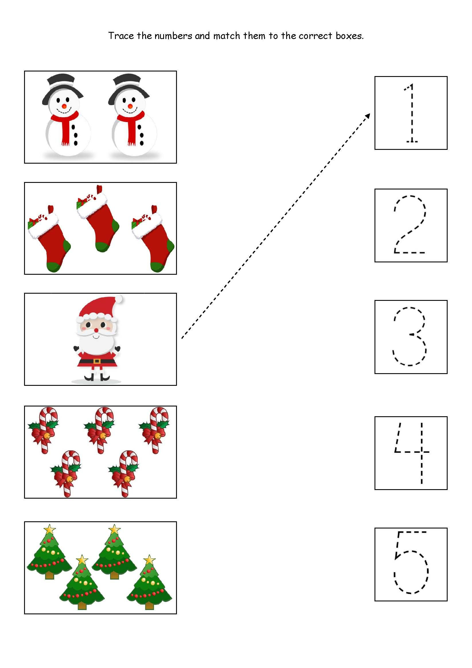 Christmas Counting Worksheets Kindergarten Cute Little Christmas Counting Matching and Tracing