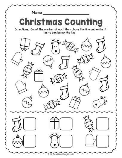 Christmas Counting Worksheets Kindergarten Free Printable Christmas Counting Worksheet