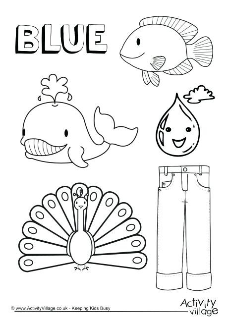 Color Blue Worksheets for Preschool Birds Coloring Worksheet