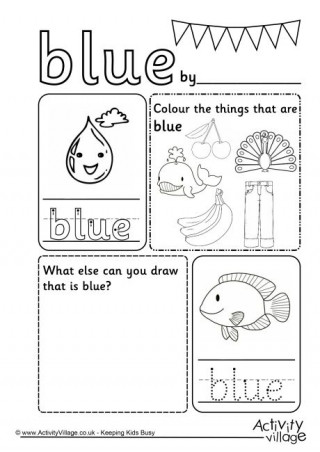 Color Blue Worksheets for Preschool Blue Activities for Kids