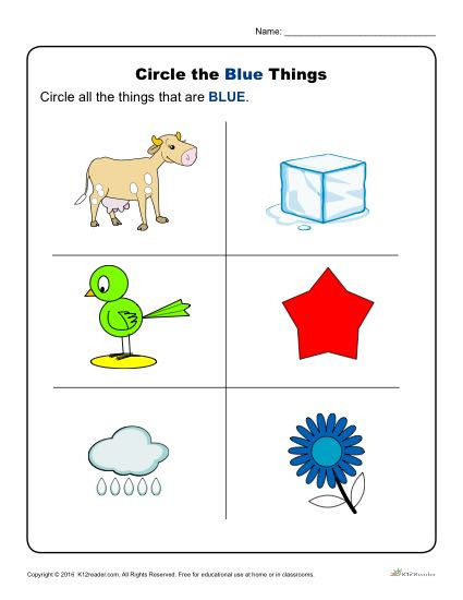 Color Blue Worksheets for Preschool Circle the Blue Things