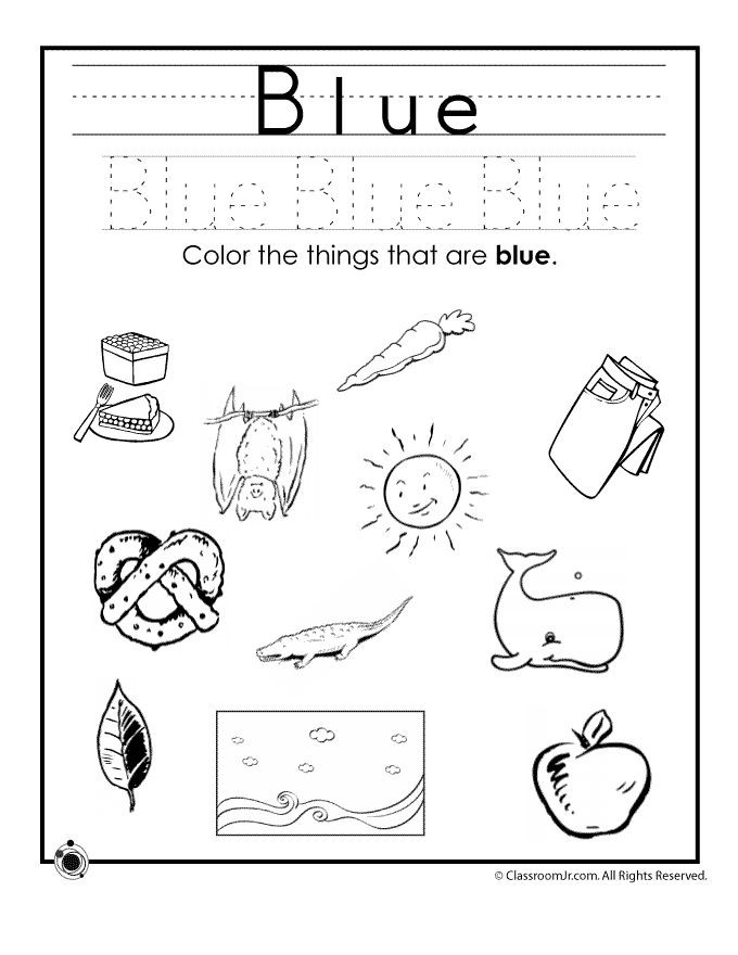 Color Blue Worksheets for Preschool Coloring for Preschool