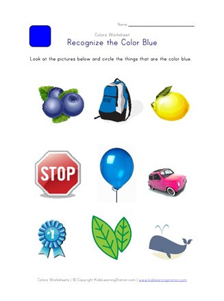 Color Blue Worksheets for Preschool Recognize the Color Blue Colors Worksheet for Kids