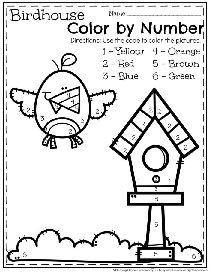 Color by Number Worksheets Kindergarten 28 [ Preschool Color by Number Worksheets ]