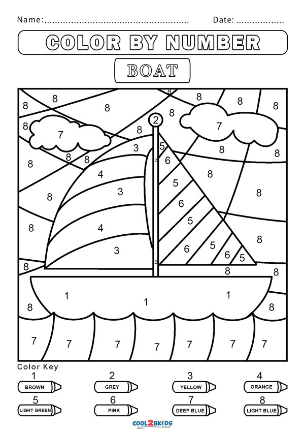 Color by Number Worksheets Kindergarten Free Color by Number Worksheets