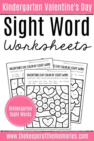Color Word Worksheets for Kindergarten Color by Sight Word Valentine S Day Kindergarten Worksheets
