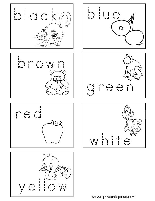 Color Word Worksheets for Kindergarten Color Worksheets Sight Words Reading Writing Spelling