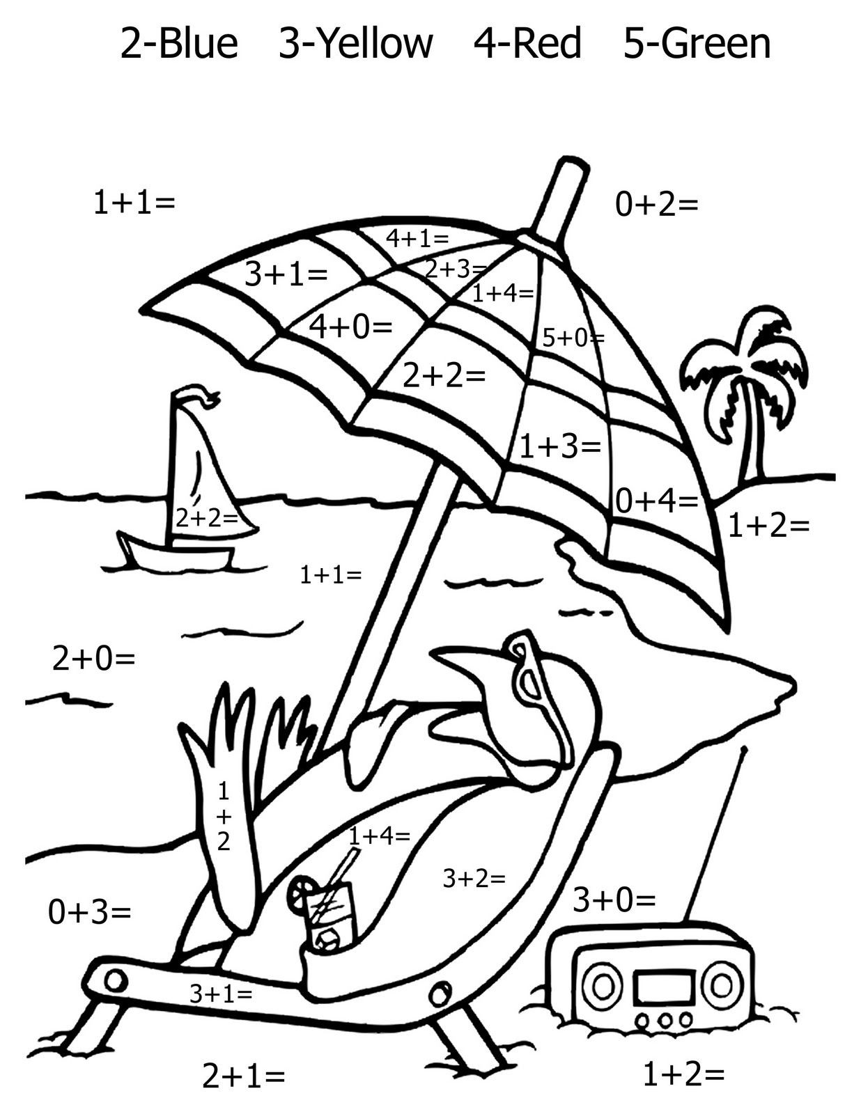 Coloring Addition Worksheet Math Coloring Pages