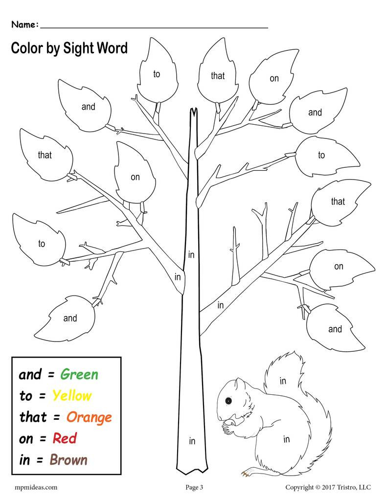 Coloring Sight Words Worksheets Fall themed Color by Sight Words 2 Printable Preschool Sight Word Worksheets