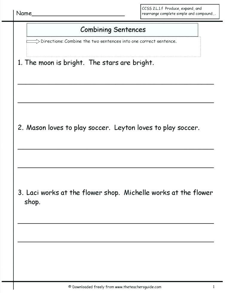 Combining Sentences Worksheet 3rd Grade 3rd Grade Sentences – Callumnichollsub