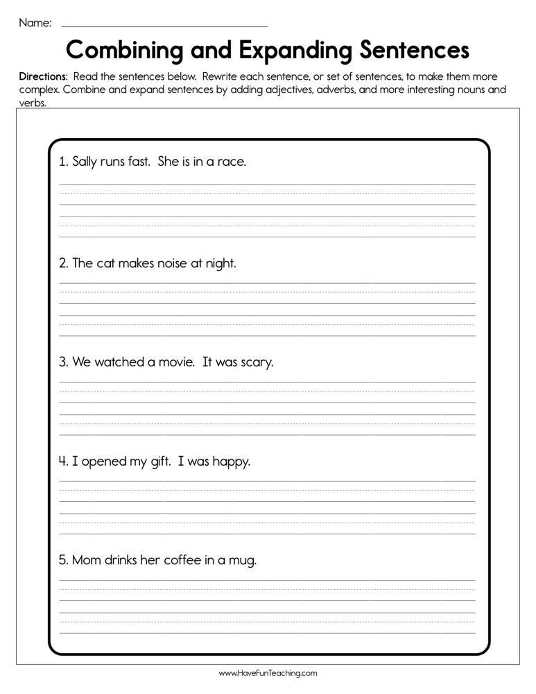 Combining Sentences Worksheet 3rd Grade Bining and Expanding Sentences Worksheet