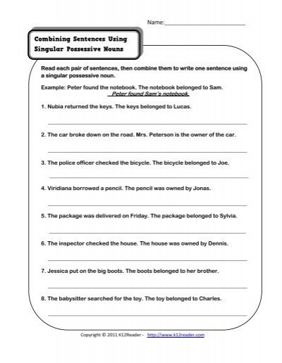 Combining Sentences Worksheet 3rd Grade Bining Sentences Using Singular Possessive Nouns